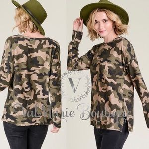 Super soft Hacci brushed Camo long Sleeve Top